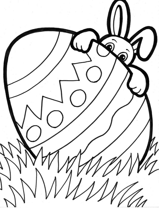 coloriage oeuf et lapin de paques 2