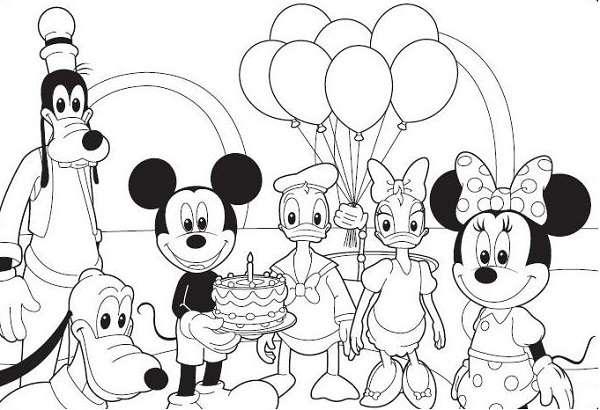 Coloriage maison de Mickey à imprimer, en ligne et gratuit - Anniversaire dans la maidon de Mickey