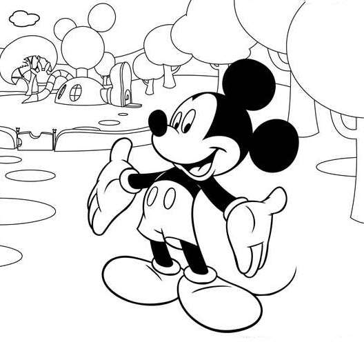 Coloriage maison de Mickey à imprimer, en ligne et gratuit - Mickey devant sa maison de Mickey