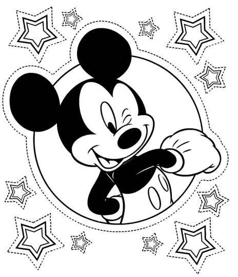 Coloriage Mickey à imprimer - Mickey carton d'invitation d'anniversaire