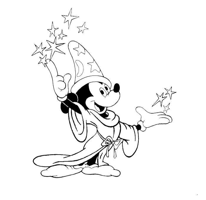 Coloriage Mickey à imprimer - Mickay magicien Fantasia 3
