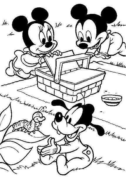 Coloriage Mickey bébé à imprimer, en ligne et gratuit - Mickey bébé, avec Minnie bébé et Dingo bébé qui font un pique-nique