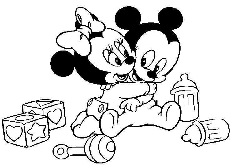 Coloriage Mickey et Minnie - Minnie et Mickey bébés