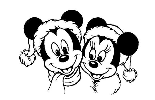 Coloriage Mickey et Minnie - noël