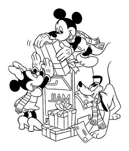Coloriage Mickey noël à imprimer, en ligne et gratuit - Minnie Mickey et Pluto postent leurs cadeaux de noël