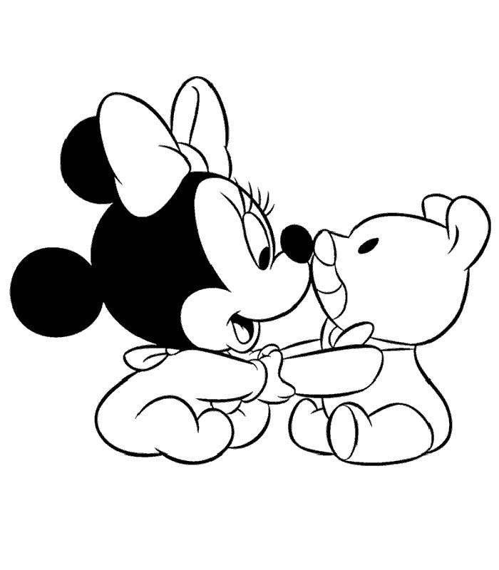 Coloriage Minnie et dessin Minnie à imprimer - Minnie bébé et son ours en peluche