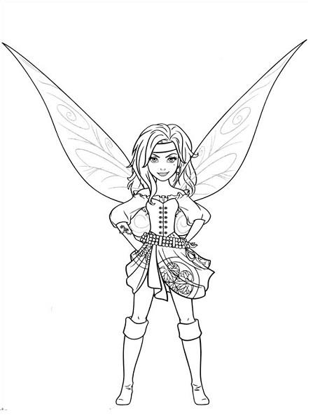 Coloriage et dessin de la fée Clochette - Coloriage Clochette et la fée pirate, Zarina