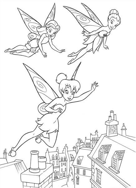 Coloriage et dessin de la fée Clochette - Coloriage de Clochette, Iridessa et Rosélia, en train de voler
