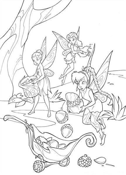 Coloriage et dessin de la fée Clochette - Coloriage de Clochette, Roselia et Iridessa, la fée lumineuse