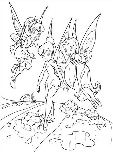 Coloriage et dessin de la fée Clochette - Coloriage de Clochette, Roselia et Noa 2