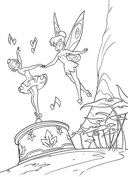 Coloriage et dessin de la fée Clochette - Coloriage de Clochette avec la boite à musique et la danseuse 1