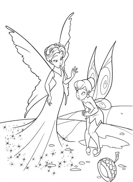 Coloriage et dessin de la fée Clochette - Coloriage de Clochette et la Reine Clarion