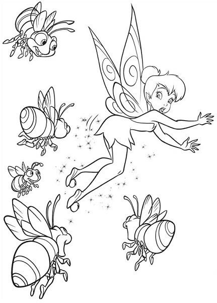 Coloriage et dessin de la fée Clochette - Coloriage de Clochette et les lucioles