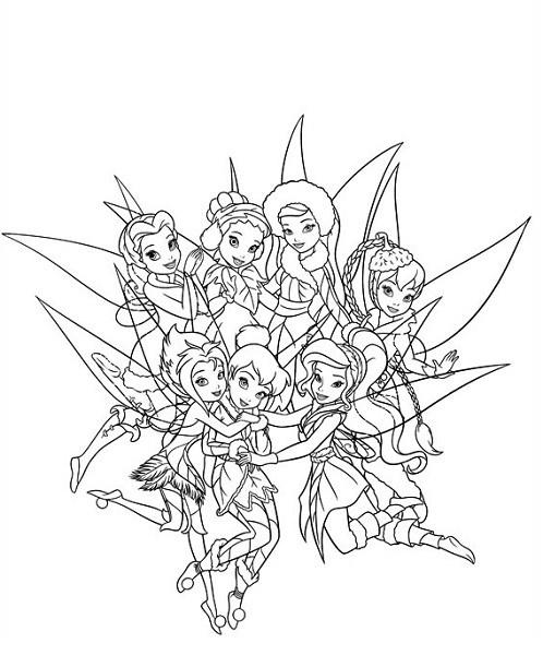 Coloriage et dessin de la fée Clochette - Coloriage de Clochette et ses amies