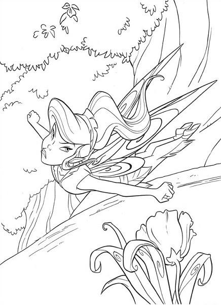 Coloriage et dessin de la fée Clochette - Coloriage de Vidia qui vole