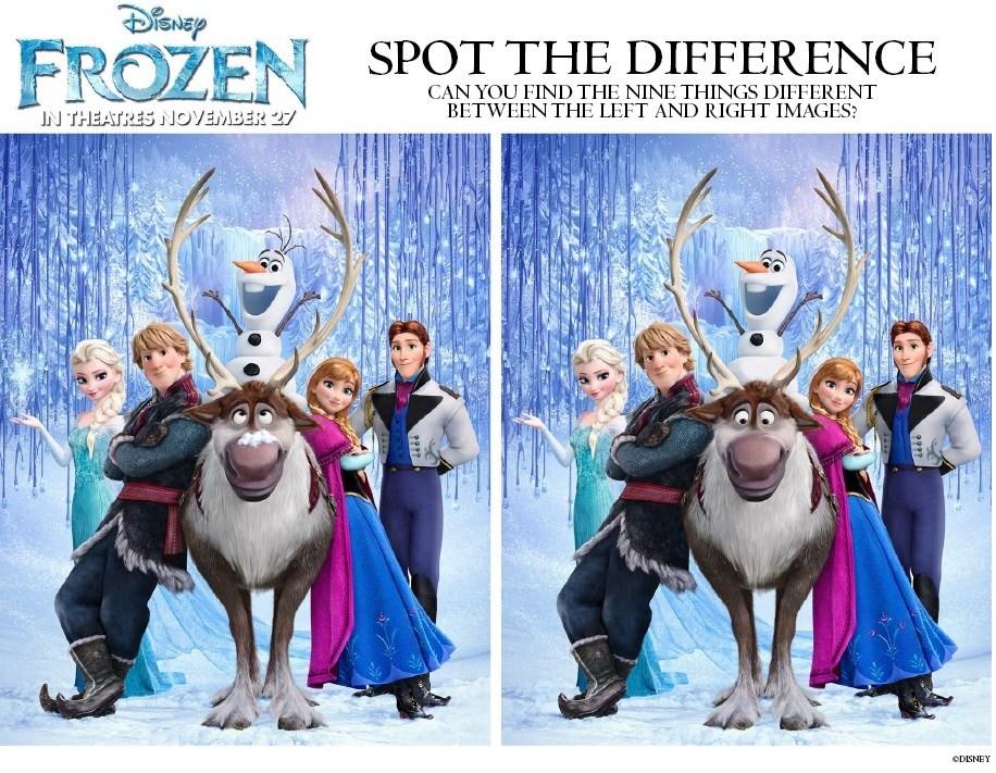 Activité Reine des Neiges - Le jeu des différences - 9 différences à trouver !