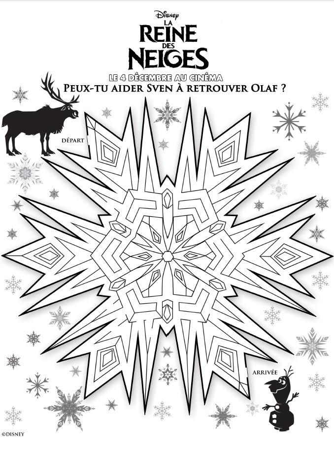 Activité Reine des Neiges - Le labyrinthe de Sven et Olaf