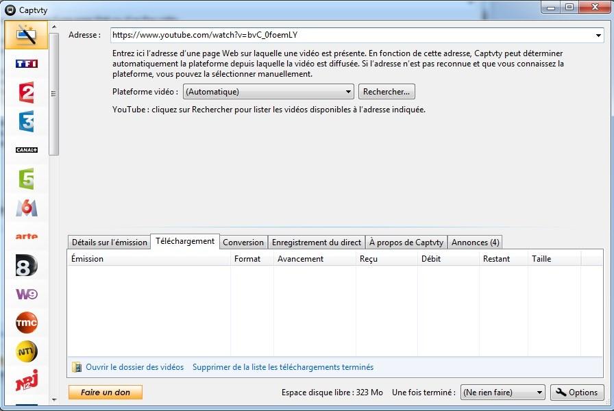Captvty - Logiciel de replay et enregistrement tv - Tutoriel - Enregistrer une vidéo sur Internet (Youtube, Dailymotion...) - 2