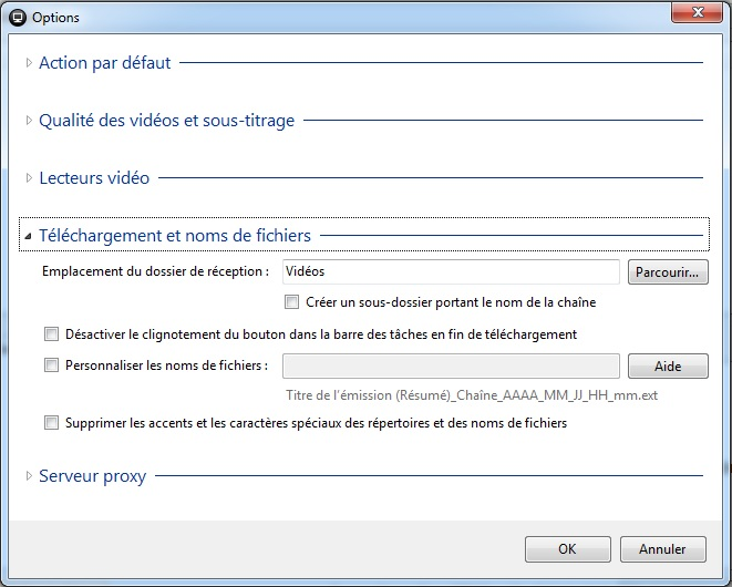 Captvty - Logiciel de replay et enregistrement tv - Tutoriel - Menu des options