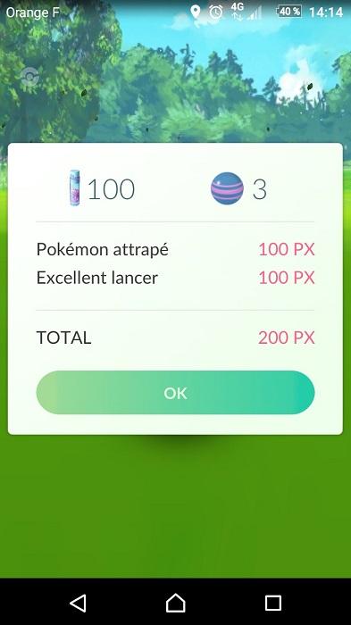 Pokémon Go - Tutoriel et astuces - Bonus d'xp pour un bon lancer