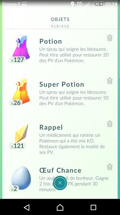 Pokémon Go - Tutoriel et astuces - Items-objets disponibles - leurres potions etc...