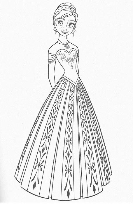 coloriage à imprimer reine des neiges - Coloriage d'Anna en robe de princesse