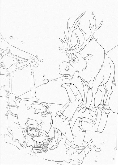 coloriage à imprimer reine des neiges - Sven et Kristof dans la neige