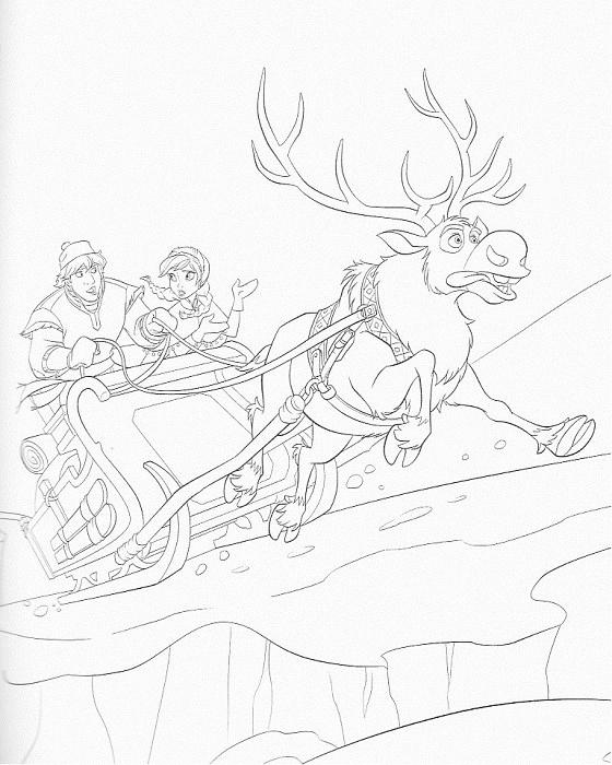 coloriage à imprimer reine des neiges - Anna Kristof et Sven en traineau