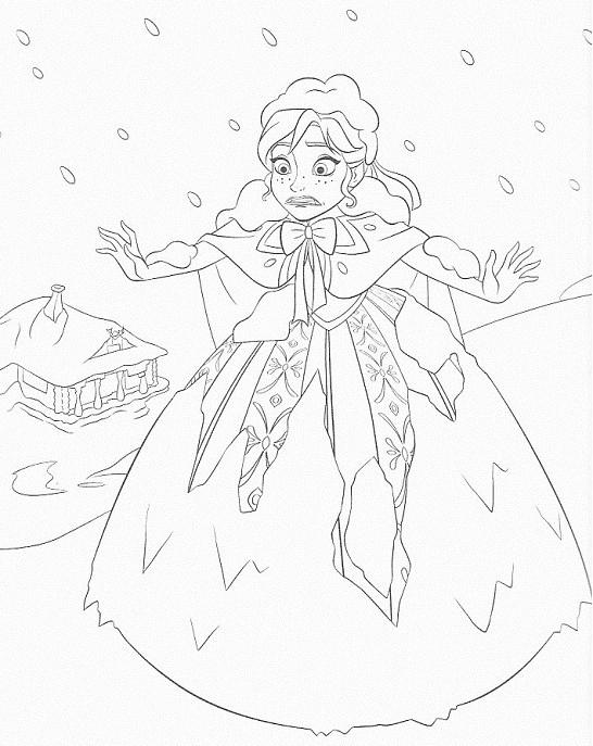 coloriage à imprimer reine des neiges - Anna dans la neige