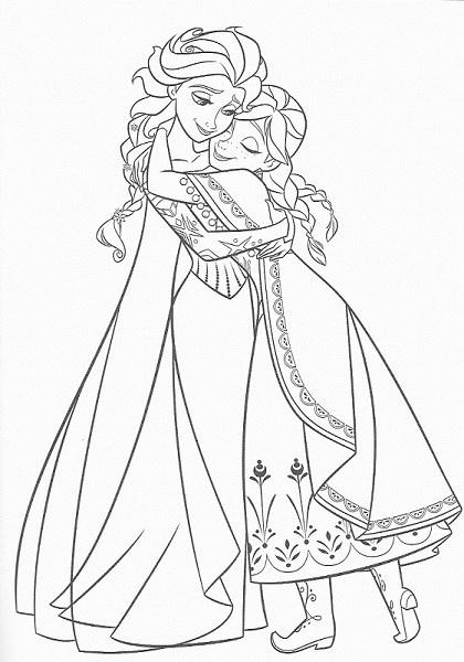 coloriage à imprimer reine des neiges - Anna et Elsa se font un câlin