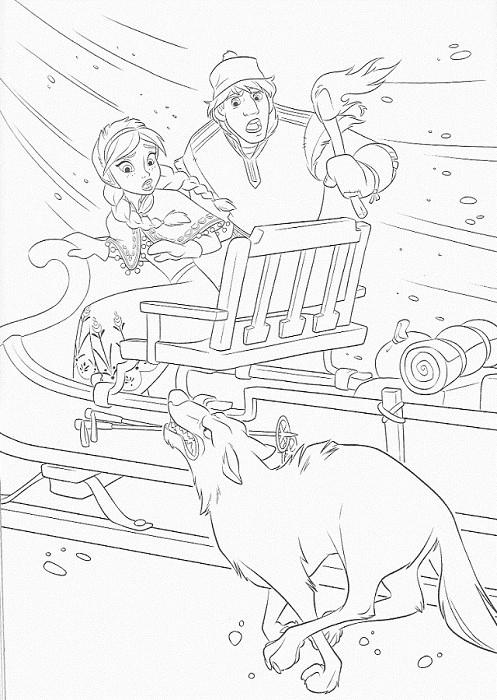 coloriage à imprimer reine des neiges - Anna et Kristof attaqués par les loups