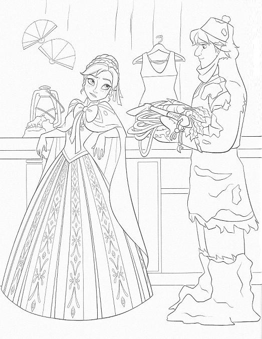 coloriage à imprimer reine des neiges - Anna et Kristof au magasin