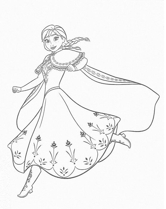 coloriage à imprimer reine des neiges - Coloriage d'Anna qui danse