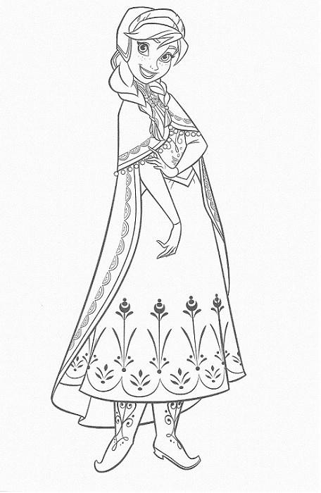 coloriage à imprimer reine des neiges - Coloriage du portrait d'Anna