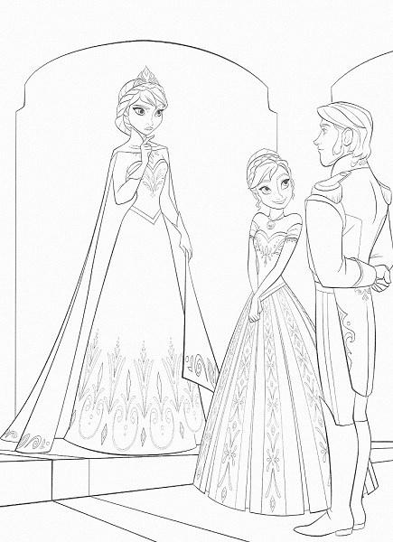 coloriage de la reine des neiges - Anna Elsa et Hans