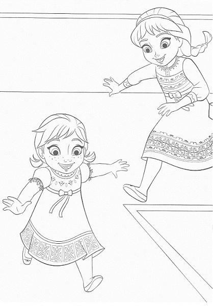 coloriage de la reine des neiges - Anna et Elsa jouent ensemble