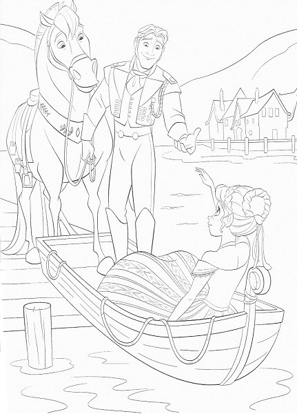 coloriage de la reine des neiges - Anna et le prince Hans