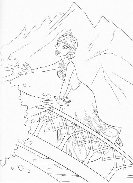 coloriage de la reine des neiges - Coloriage d'Elsa contente