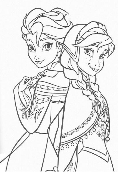 coloriage de la reine des neiges - Coloriage portraits d'Anna et Elsa