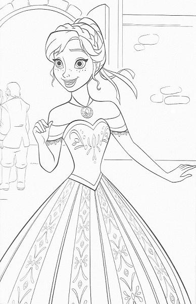 coloriage de la reine des neiges - Elsa avec sa robe de princesse