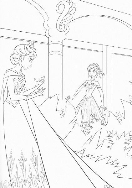 coloriage de la reine des neiges - Elsa et ses pouvoirs de gel