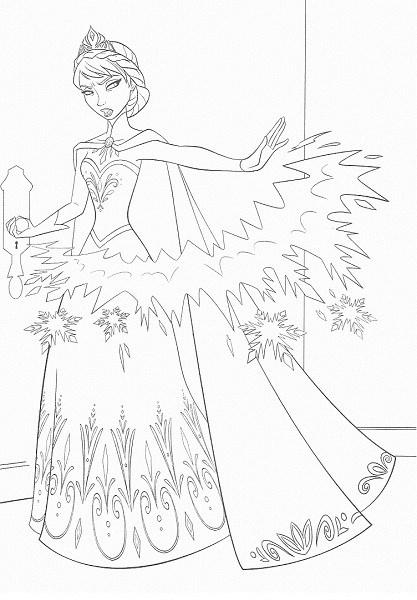 coloriage de la reine des neiges - Elsa et ses pouvoirs magiques de glace