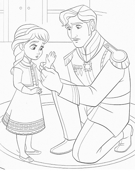 coloriage de la reine des neiges - Elsa et son père