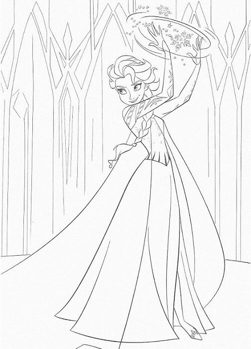 coloriage de la reine des neiges - Elsa puissante avec ses pouvoirs