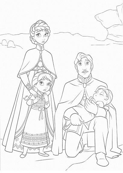 coloriage de la reine des neiges - Portrait de famille
