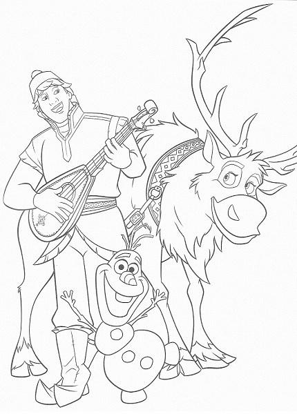 coloriage de la reine des neiges - Sven Kristof et Olaf jouent de la musique et dansent