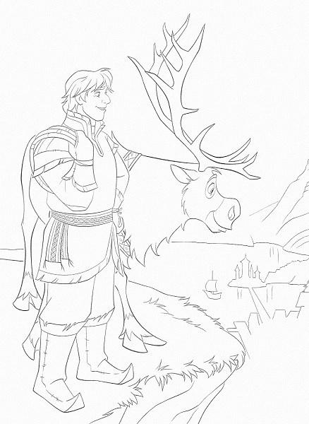 coloriage de la reine des neiges - Sven et Kristof regardent le château d'Elsa