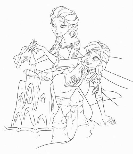 coloriage en ligne reine des neiges - Coloriage d'Elsa et Anna qui font un château de sable