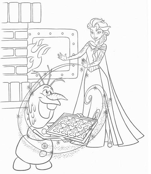 coloriage en ligne reine des neiges - Coloriage d'Elsa et Olaf qui cuisinent