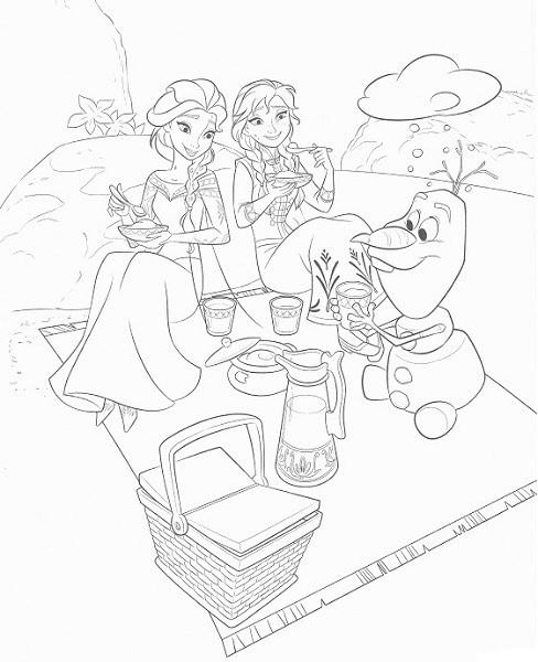 coloriage en ligne reine des neiges - Coloriage d'Olaf Anna et Elsa qui font un pique-nique